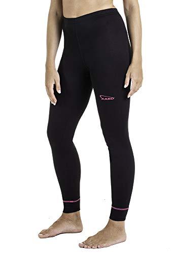XAED, pantaloni da sci per strato base, da donna, colore nero/fucsia, taglia S/M, intimo termico donna