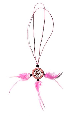 Dreamcatcher Kette Traumfänger Halskette Auto Deko Rosa Pinke Federn (länge verstellbar)