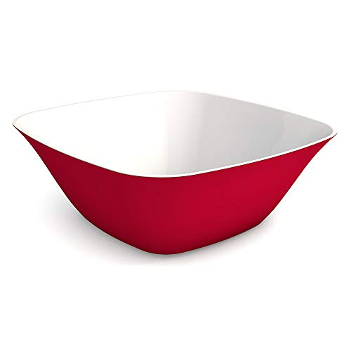 Ornamin Schüssel 2400 ml rot, Melamin   große stabile Kunststoffschale, großes Fassungsvermögen  robustes Alltags-Geschirr für zu Hause, Camping, Picknick, BBQ, Gemeinschaftsverpflegung, Großküchen   Snackschüssel, Salatschüssel, Suppenschüssel (Melamin Schüssel Rot)