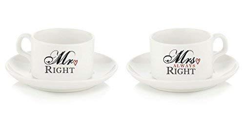Coppie mr destro mrs always destro piattino della tazza e ceramica cucchiaio set regalo 114ml tazza ceramica matrimonio regalo anniversario san valentino genitori