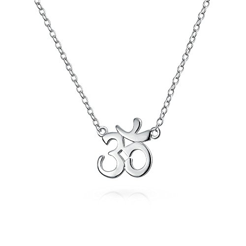 Om Yoga símbolo espiritual Colgante Collar de plata esterlina de 16 pulgadas