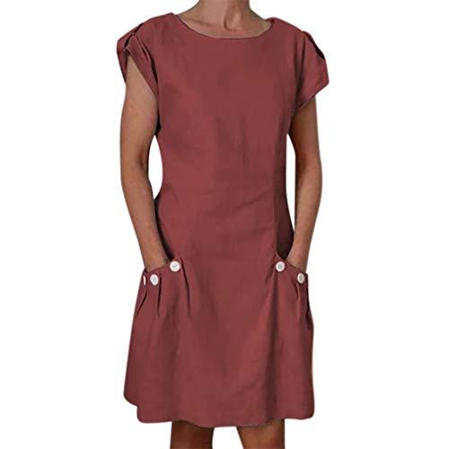Vectry Sommerkleid Damen Kurze Ärmel Leinen Kleider Strandkleider Einfarbig A-Linie Kleid Boho Kleid Strandkleid Minikleid(Wein,Large)