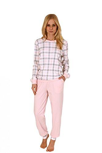 Eleganter Damen Interlock Pyjama lang mit Bündchen - auch in Übergrössen - 201 96 151 Rosa