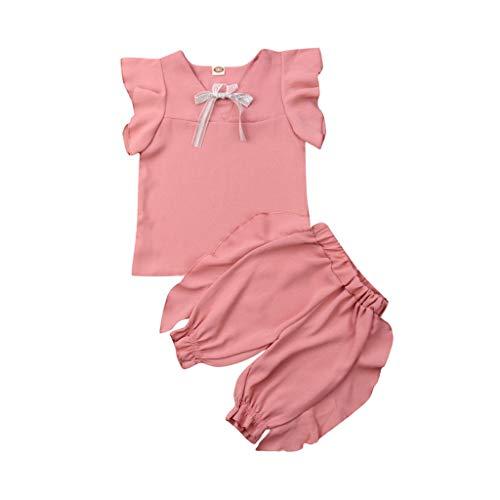 by Mädchen Bogen ärmellose Gekräuselte Tops Soild Shorts Outfits Sets Sommer Kleidungs Baumwolle Niedlich Knoten Und Kurze Hosen(Höhe130) ()