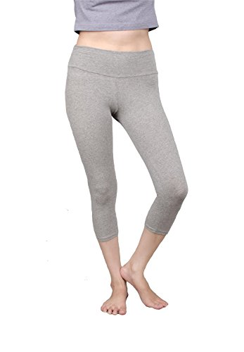 Lofbaz Femmes coton pantalons capri leggings 3/4 genou longueur Yoga Gris (Thin)