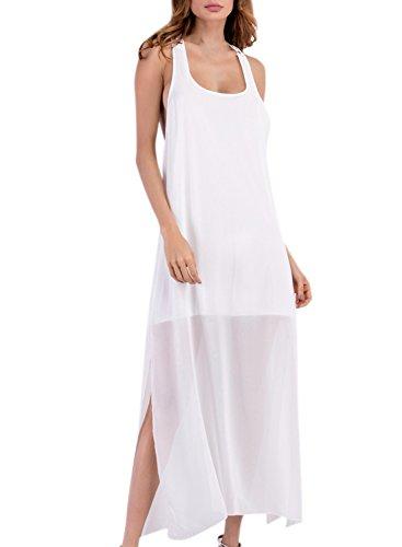 Azbro Women's Sleeveless Backless Side Slit Solid Maxi Dress white