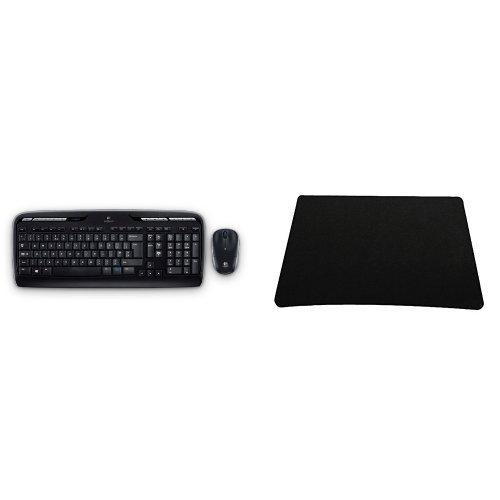 Preisvergleich Produktbild Set Logitech MK330 schnurlose Tastatur (deutsches Tastaturlayout, QWERTZ) mit Maus (2,4GHz, USB) schwarz + Silent Monsters 1003007016 Mauspad (22 x 18 cm) schwarz