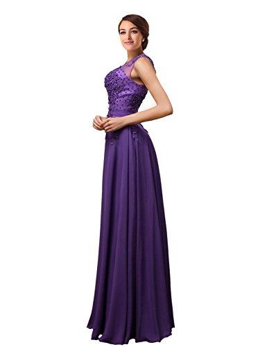 MicBridal®robe de soirée longue cocktail mariée robe de bal longue princesse col V Coeur tulle dentelle à fleur Violet