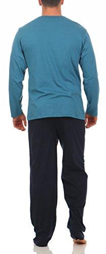 Langer Schlafanzug Baumwolle Rundhals oder V-Ausschnitt - weicher warmer Pyjama - 5 verschiedene Modelle und Farben wählbar Grösse 50/M - 56/XXL blau mit Applikation