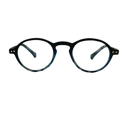 Lesebrille leicht klassisch rund mit Soft Touch Oberfläche und Federbügel Damen- und Herrenbrille +1 0 1 5 2 0 2 5 3 0 (1.5, blau)