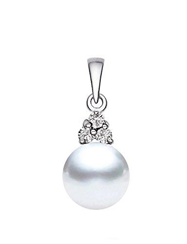 Pendentif Perle de culture de Mer du sud Blanc 14K Or Blanc avec Diamants de qualité AAA