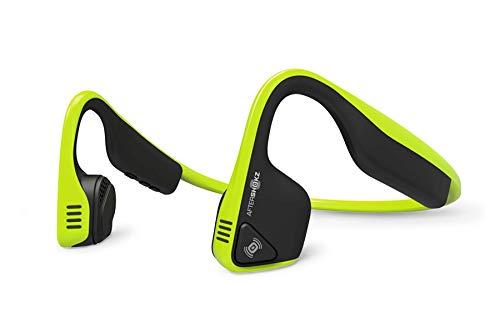Aftershokz trekz titanium as600ig cuffie bluetooth a conduzione ossea wireless per lo sport con auricolari e microfono resistenti al sudore, verde limone (ivy)