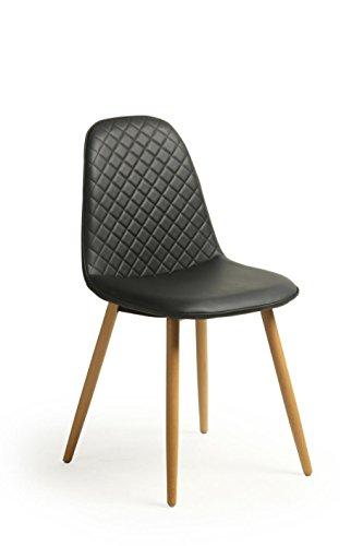 2Stück Retro Vintage Stil der Kreuzstich-Falsch Wohnzimmer Leder Esszimmer/Bürostuhl, solide Beine Beechwood schwarz (2 Stück Wohnzimmer Chaise)