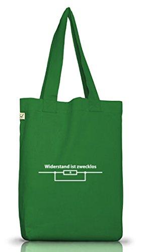 Shirtstreet24, WIDERSTAND IST ZWECKLOS, Jutebeutel Stoff Tasche Earth Positive Moss Green