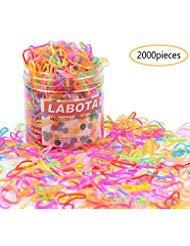 LABOTA 2000 Stück Mini Haargummis Mehrfarbige mit Freie Box für Kinder Mädchen