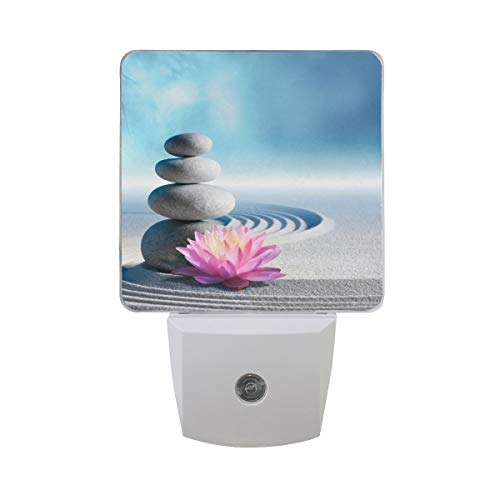 DFISKK Nachtlicht Set of 2 Sand Wave Water Lily and Spa Stone in Zen Garden with Blue Sky Auto Sensor LED Dusk to Dawn Night Light Plug in Indoor for Adults -