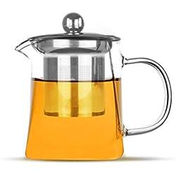 Maison & White Infusor de té de cristal   Filtro de tetera de hojas sueltas de acero inoxidable   Colador de té y café resistente al calor   Taza de té sola taza (300ml)