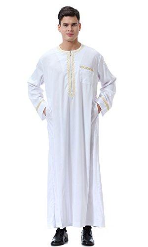Dreamskull Herren Männer Muslim Abaya Dubai Muslimische Islamische Arab Arabisch Kleidung Kaftan Robe Pullover Kleider Maxi Kleid Indien Türkisch Casual Festlich (XL, - Thawb Kostüm