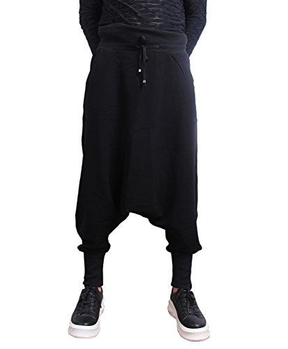 ELLAZHU Herren Freizeit Elastisch Taille Taschen Einfarbig Schwarz Harem Hose GYM119