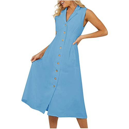 Wawer Groß Damen Mode Frauen Sommer V-Ausschnitt ärmellos eine Reihe von Knöpfen Baumwolle und Leinen Langer Rock Kleid 4 Farben