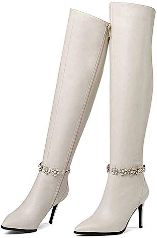 WANG-LONG Scarpe Scarpe Scarpe da Donna Martin Invernali in Pelle con Tacco Alto A Punta Sottile Autunnali Caldi Antiscivolo... | flagship store  a23b44