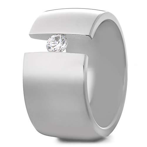 Heideman Ring Damen Elegantia Silber Farben poliert Damenring für Frauen mit Swarovski Zirkonia Kristall Weiss schwarz oder farbig im Brillantschliff Crystal Gr.65 hr1142-3-1-65
