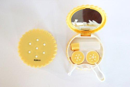 Kontaktlinsenbehälter Spiegel (Kontaktlinsenbehälter Aufbewahrungsbehälter Etui Set Spiegel Motiv Keks Gelb NEU)