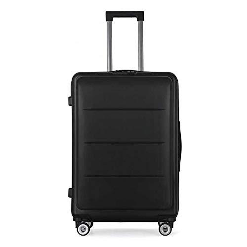 FUNXS Reisekoffer-Tasche mit Frauen auf Rad Machen Kennwort-Hardside-Stamm-Rollen-Gepäck-Spinner-Koffer-Rad-Mann-Laufkatze weiter (Farbe : Schwarz, Luggage Size : 20