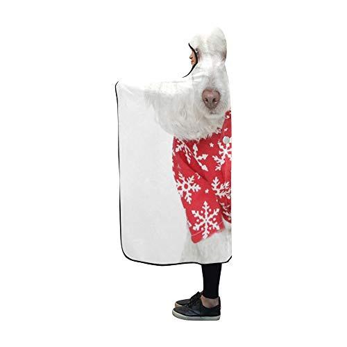 YSJXIM Weißer Spielzeugpudel-Weihnachtshut auf Decke 60x50 Zoll Comfotable Hooded Wow Wrap