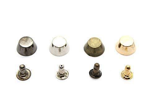 Trimming Shop 10mm Stachel Kegel Nieten mit Pins für Leder Basteln Knopf Nieten für Handtaschen, Jeans Gürtel Jacken - für Nähen Kleidung Reparatur - Punk und Gothic Zubehör - Silber -