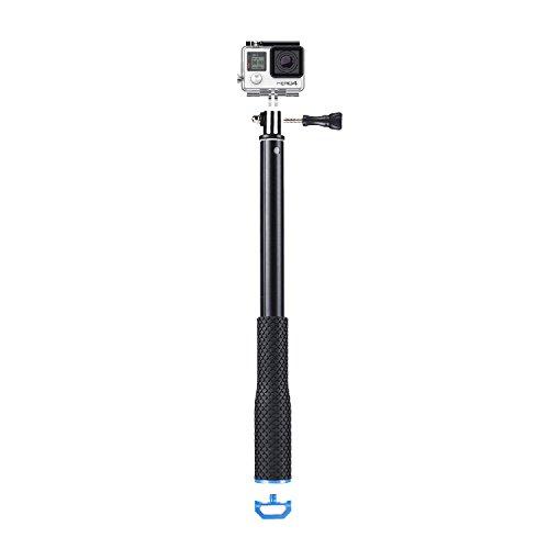 COOSA Einstellbare Teleskopverlängerungsstange Einbeinstativ für Gopro Hero 4 Hero 3+ Hero 3 Hero 2 / Canon / Nikon / Sony und mehr Kameras, 36-110cm, Wasserdicht mit Zubehör-Set (blau)