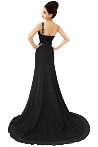 Sunvary formale abiti da sera o Chiffon Una spalla A-line madre della sposa Gowns Nero