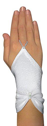 Schicke Fingerlose Kommunionhandschuhe Handschuhe zur Kommunion, Strasssteinchen, Mädchen KA-34