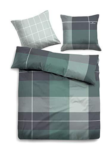 Tom Tailor Flanell Bettwäsche Flash kariert grün 1 Bettbezug 135 x 200 cm + 1 Kissenbezug 80 x 80 cm -