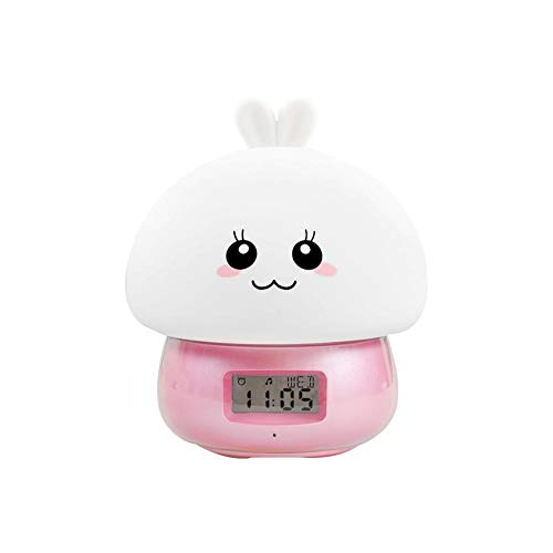 Wake Up Baby Girl, Rabbit Nightlight Kid, Reloj Digital Educativo, Rosa para bebés con Doble Campana, 11 Sonidos, 7 Colores, Mostrar Hora Fecha Semana Temperatura