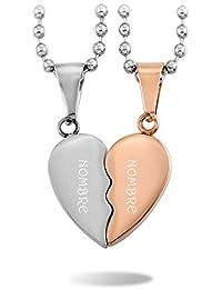 INBLUE 2 Pieza Acero Inoxidable Colgante Collar Conjunto Corazón Heart Pareja Conjunto Set