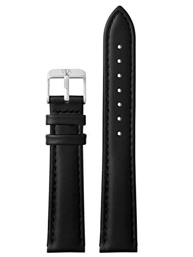 laVIIDA Uhrband LB-SVI2009S Ersatzband Uhrenarmband Leder 18 mm Schwarz-Silber