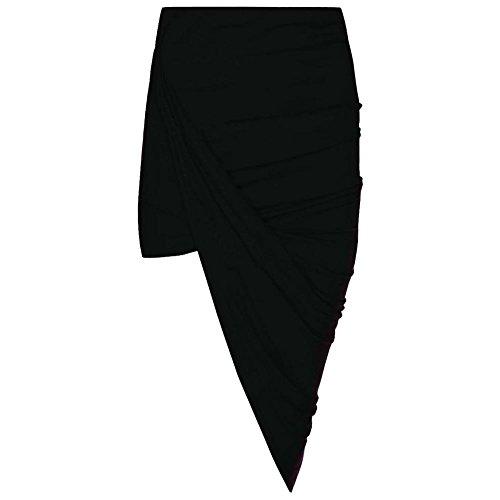 Damen Midikleid aus Jersey mit Rüschen, seitlich gespalten Drape lange Maxi, Midi und Mini ', Rock, Schwarz, S/M (UK 8 - 10) (Jersey Rock Rüschen)