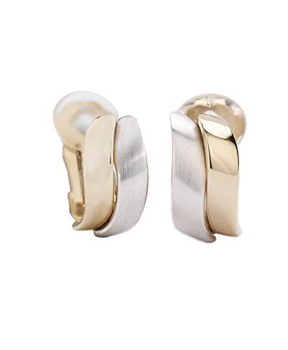 Traveller® Schmuck Ohrring Ohrclip - 22kt vergoldet, bicolor oder rhodiniert - matt/shiny (2-tone) - Edelmetall-ton