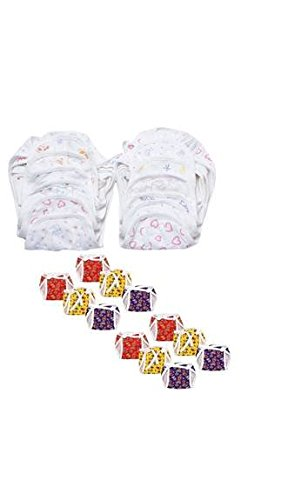 Firststep combo of 24 cloth nappies,12 colored nappies and 12 white printed nappies(0-6months)(size-medium)(Assorted)