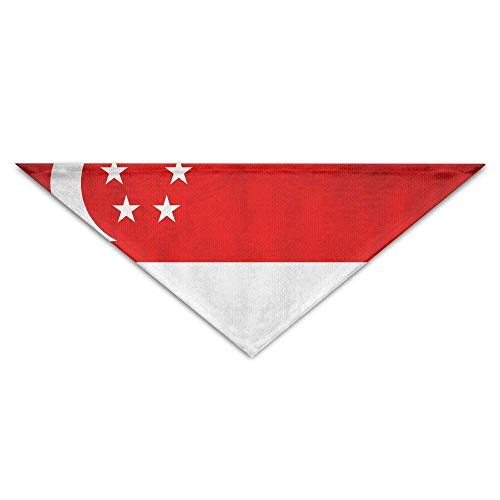 Wfispiy Lovely Singapore Country Flag PrintingDog Birthday Pet Bandana Collars for Dogs and Cats