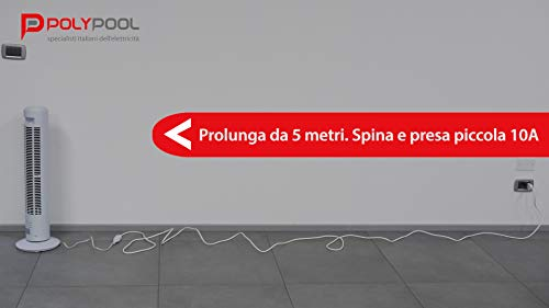 Poly Pool PP0382S Prolunga 5 m, Spina e Presa 10 A, Bianco