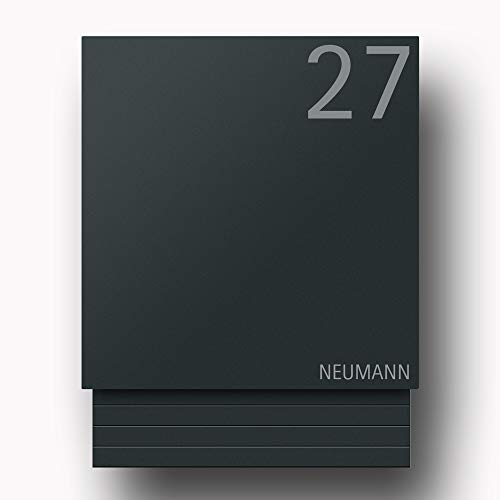 Briefkasten Edelstahl B1 Light 7016 Number Anthrazit inkl. Namensbeschriftung (Türanschlag links)