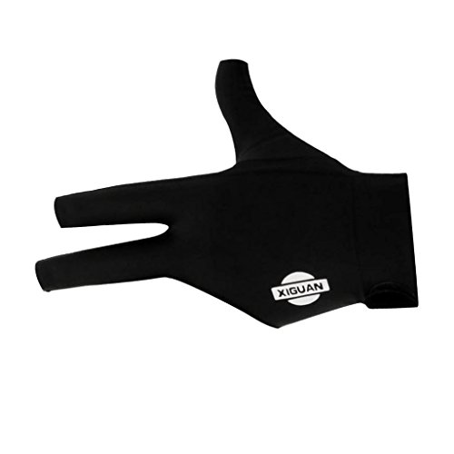 Sharplace Billard Handschuh 3 Finger Schwarz/Blau/Rot - Pool Billiard Glove für Links Hand - Schwarz
