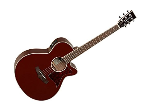 Tanglewood TW4Rojo Super Folk–Guitarra electroacústica, superior de cedro macizo, con ecualizador