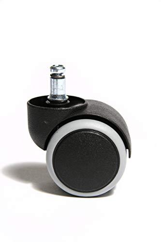 Topstar 6991 Rollenset, Hartbodenrollen für Bürostuhl, Rollenset = 5 Rollen für Schreibtischstuhl, schwarz, Stiftgröße 10mm, Durchmesser 50mm Schwarz Hard Top