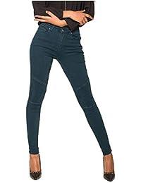 Nina Carter Donna Jeans Skinny Biker Pantaloni Denim Stretch Stile  Motociclista Taglia 34 a 42 39d66658a51d