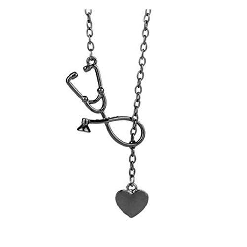 WEIHEEE Damen Halskette Stethoskop Form und süße Herz-Anhänger Halskette Valentinstag Romantisches Geschenk - Schwarz