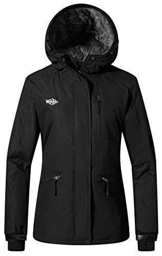Wantdo Femme Manteau d'hiver Blouson d'extérieur Anorak à Capuche avec Polaire Veste de Ski Imperméable Coupe-Vent pour Hiver Noir X-Large