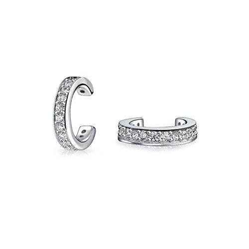 Bling Jewelry Sterling Silber Petite Moderne CZ Ohr Manschetten Rhodiniert